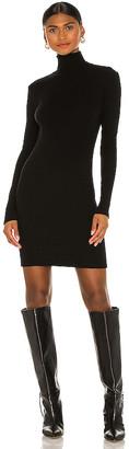 Enza Costa Tencel Cashmere Rib Long Sleeve Zip Turtleneck Mini Dress