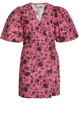 Ganni Belted Floral Cotton-Poplin Mini Dress