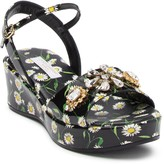 Dolce & Gabbana Daisy Embellished Wedge Sandal (Toddler, Little Kid, Big Kid)