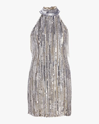 ONE33 SOCIAL Beaded Fringe Halter Dress