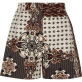 River Island Womens Grey scarf print high waisted shorts