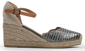 Kanna Bamburgh Pewter Reptile Leather Wedge Espadrille Sandals