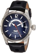 Akribos XXIV Men's AK850BU Round Navy Dial Three Hand Quartz Stainless Steel Strap Watch