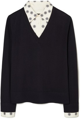 Tory Burch Embroidered Dickie V-Neck Sweater