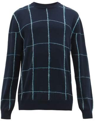 Paul Smith Windowpane Check Virgin Wool Sweater - Mens - Navy
