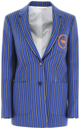 Calvin Klein Motif Embroidered Striped Blazer