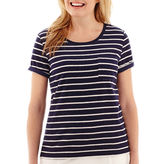 JCPenney Silverwear Short-Sleeve Striped Pocket T-Shirt - Petite