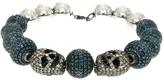 Artisan Women's Cool Skull and Diamond Ball Bracelet