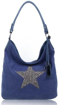 Foxlady Sparking Rhinestone Embellished Star Canvas Shoulder Bag/Tote Shopper Medium Size 35x30x14 cm