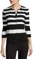Liz Claiborne 3/4-Sleeve Zip Cardigan - Tall