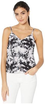Sanctuary Essential Button Front Tank (Dark Tie-Dye) Women's Sleeveless