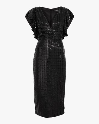 Badgley Mischka Sequin Flutter-Sleeve Cocktail Dress