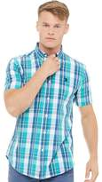 U.S. Polo Assn. Mens Short Sleeved Check Shirt Sea Green