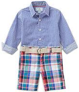 Class Club Little Boys 2T-7 Gingham Button-Down Shirt & Plaid Shorts Set