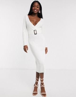 Outrageous Fortune wrap front knitted midi pencil dress with belt detail