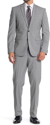 Vince Camuto Light Gray Solid Two Button Notch Lapel Wool Slim Fit Suit