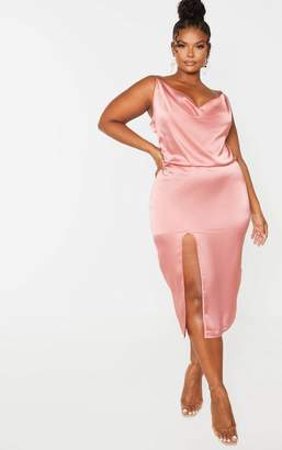 PrettyLittleThing Plus Rose Strappy Satin Cowl Midi Dress