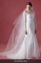 Oscar de la Renta Women's 'Faith' Tea Rose Silk Lace A-Line Dress