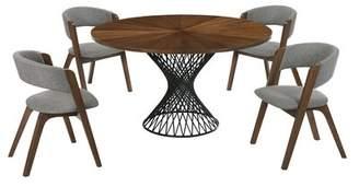 Corrigan Studio Schoonmaker 5 Piece Breakfast Nook Dining Set Corrigan Studio Table Top Color: Walnut, Chair Color: Walnut