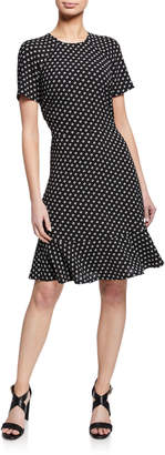 MICHAEL Michael Kors Printed Raglan-Sleeve Flounce Dress