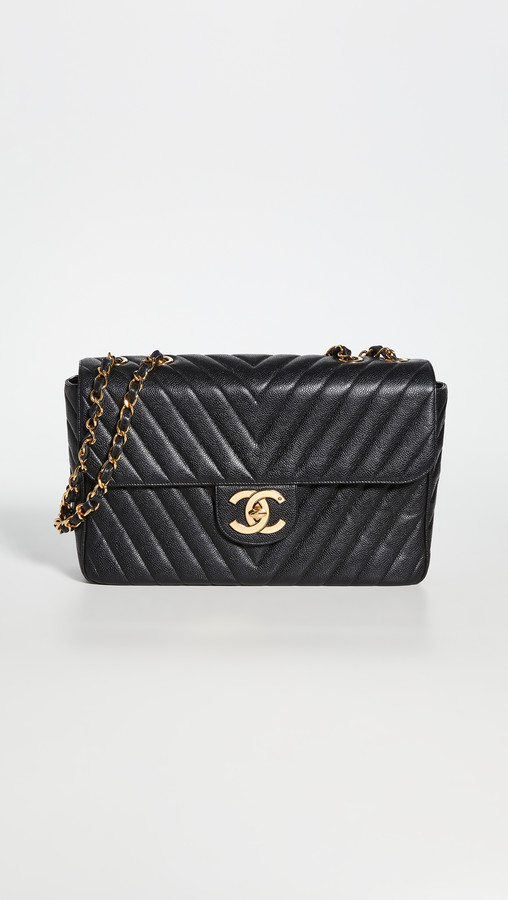 What Goes Around Comes Around Chanel Black Caviar Chevron Envelope Flap Bag