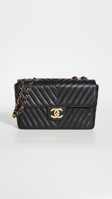 What Goes Around Comes Around Chanel Black Caviar Chevron Envelope Flap Bag
