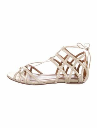 Aquazzura Ginger Leather Gladiator Sandals Gold