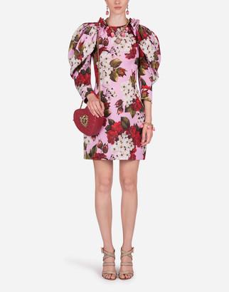 Dolce & Gabbana Short Dress In Organza With Geranium Print