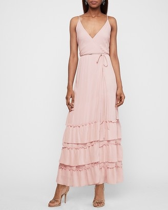 Express Tiered Wrap Front Maxi Dress