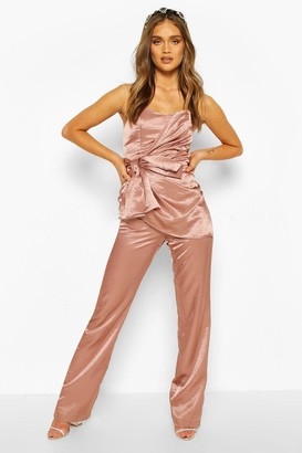 boohoo Occasion Satin Bandeau Bow Jumpsuit