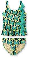 Classic Girls Plus Ruffle Tankini Printed Set-Light Jade