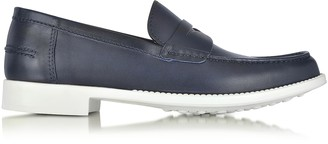 a. testoni Navy Leather Moccasin Shoe