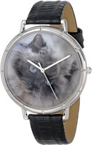 Whimsical Watches Women's T0120039 Himalayan Cat Black Leather And Silvertone Photo Watch
