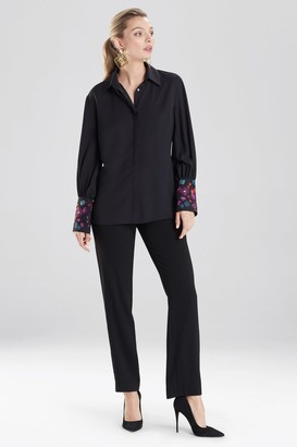 Natori Silky Soft Blouse With Embroidery