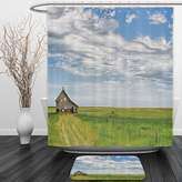 Vipsung Shower Curtain And Ground MatRustic Decor Canadian Timber House in Terrain Grassland with Clouds in Air Landscape Decor Green BlueShower Curtain Set with Bath Mats Rugs
