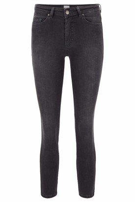 HUGO BOSS Womens J11 Frisca Skinny-fit Cropped Jeans in Power-Stretch Grey Denim