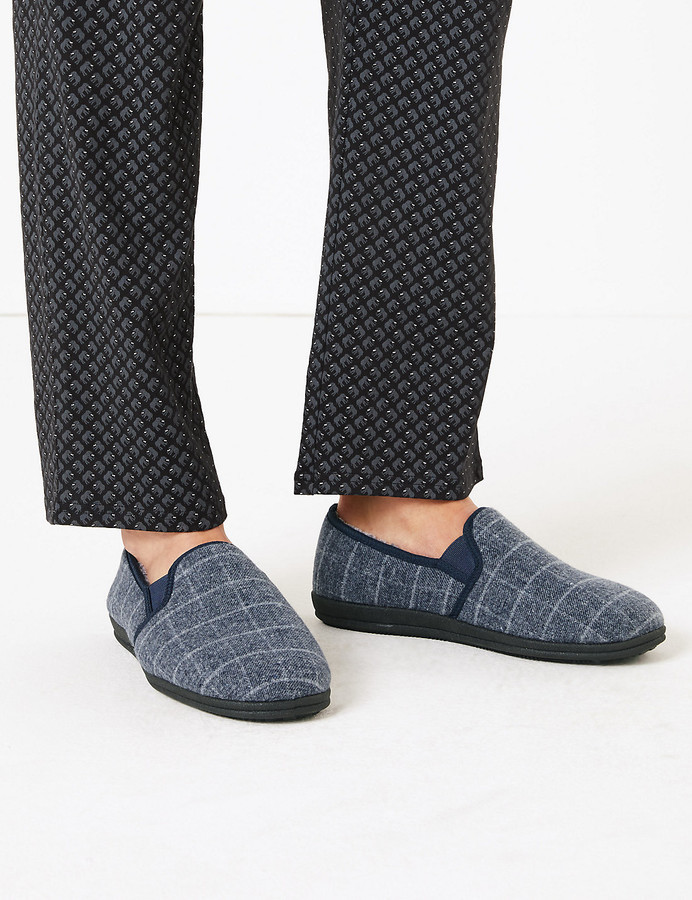 Marks and Spencer Checked Slippers