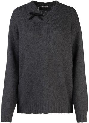 Miu Miu V Neck Bow Knitted Sweater