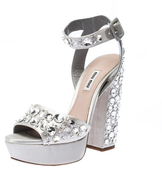 Miu Miu Grey Jewel Embellished Satin Open Toe Ankle Strap Platform Sandals Size 38