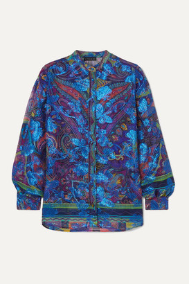 Etro Paisley-print Fil Coupe Silk-blend Georgette Blouse - Blue