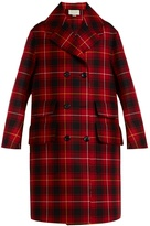 Gucci Spaniel-appliqué tartan wool coat