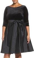 Adrianna Papell Velvet & Taffeta Fit & Flare Dress (Plus Size)