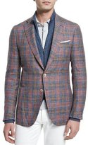 Isaia Madras Plaid Two-Button Sport Coat, Red/Blue