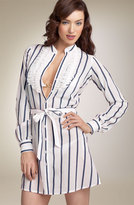 Stripe Shirtdress Cover-Up