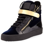 Giuseppe Zanotti Men's Velvet High-Top Sneaker with Golden Bar, Navy