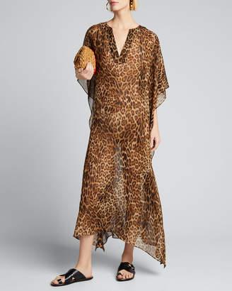 Nili Lotan Erica Animal-Print Caftan Dress