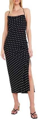 Bardot Spotted Crisscross Midi Slip Dress