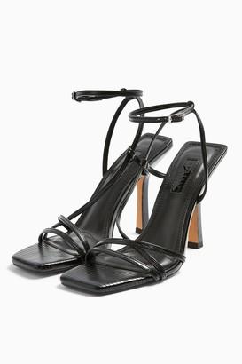 Topshop Womens Idol Ritz Black Strap High Heels - Black