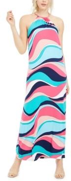 Trina Turk Trina Milian Wave-Print Maxi Dress