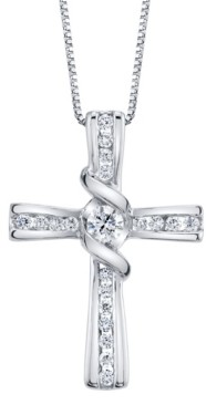 Sirena Diamond (1/3 ct. t.w.) Cross Pendant in 14k White Gold